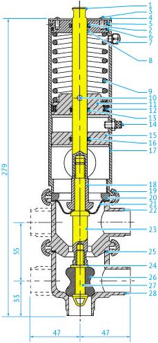 Размеры асептических L/L- и T/T-образных затворных пневмоклапанов с мембраной из тефлона, DN25