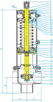 Затворные асептические L- и T-образные пневмоклапаны с мембраной PTFE Ø38 и 51, НО