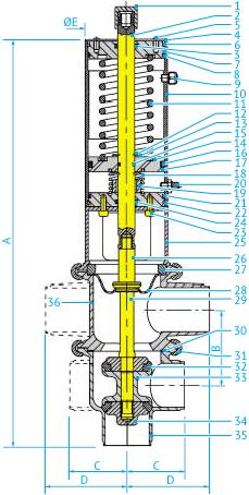 Асептические затворные L/L- и T/T-образные клапаны с тефлоновой мембраной Ø38 и 51, НЗ