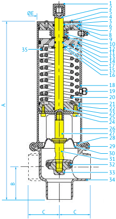 Размеры L- и T-образных затворных асептических пневмоклапанов с мембраной Ø63,5 и 76, НО