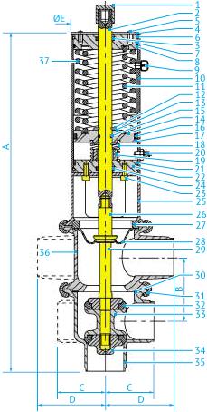Пневматические L/L- и T/T-образные затворные клапаны с мембраной в асептическом исполнении Ø63,5 и 76, НЗ