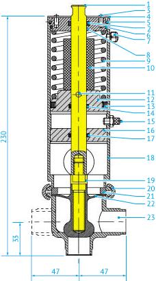 Размеры асептических L- и T-образных затворных пневмоклапанов с моноблоком, DN25, НЗ