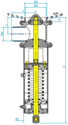 Донный затворный пневмоклапан для емкостей выталкивающего осадок типа