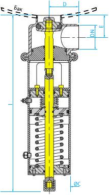 Донный затворный пневмоклапан для емкостей затягивающего осадок типа