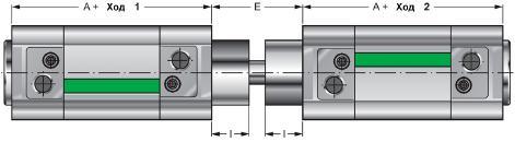 NWT... CNF - оппозитный цилиндр с общим штоком