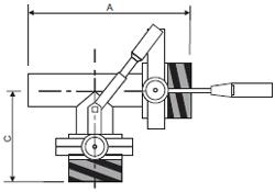 Клапан 3-ходовой с 2-мя шиберами: центр/лево, центр/право