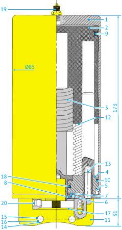 Пневмопривод для шиберных клапанов Ø25 до 76 и шаровых клапанов DN8 до40