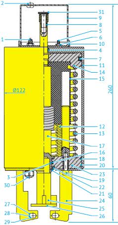 Пневмопривод для шиберных Ø80 до 104 и шаровых клапанов DN50 до80 с кожухом