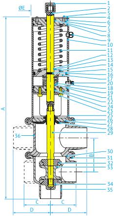 Размеры L/L- и T/T-образных затворных пневмоклапанов Ø104