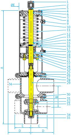 Размеры L/L- и T/T-образных затворных пневмоклапанов Ø35 и 51